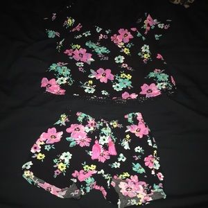 GIRLS JUSTICE FLORAL SHORT & TOP SET